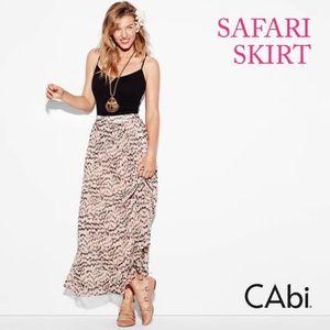 Cabi XS Long Maxi Skirt Safari Peach Brown Animal
